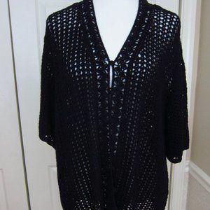 Laura Scott Woman Shrug Sweater Black 24/26W